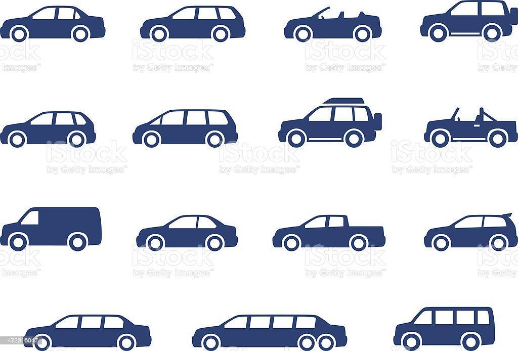 Cars icons set vector art illustration