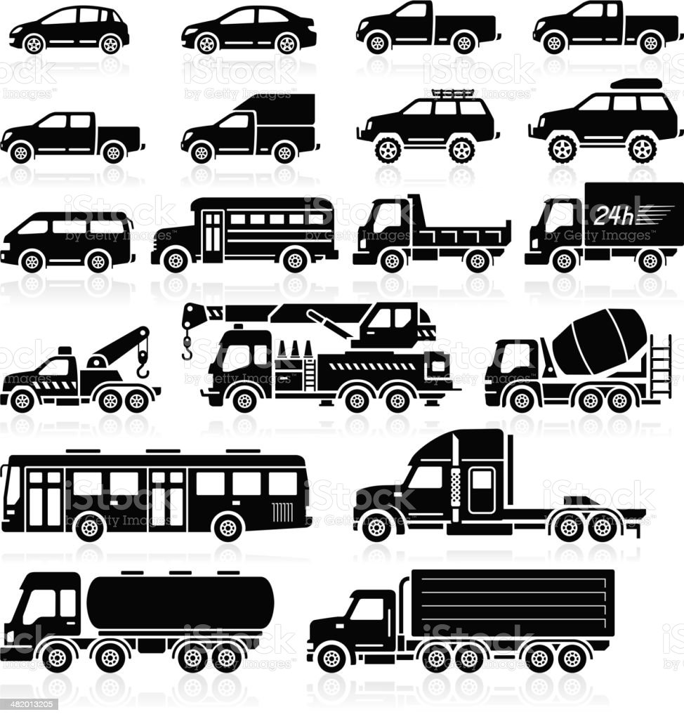 Cars icons set. vector art illustration