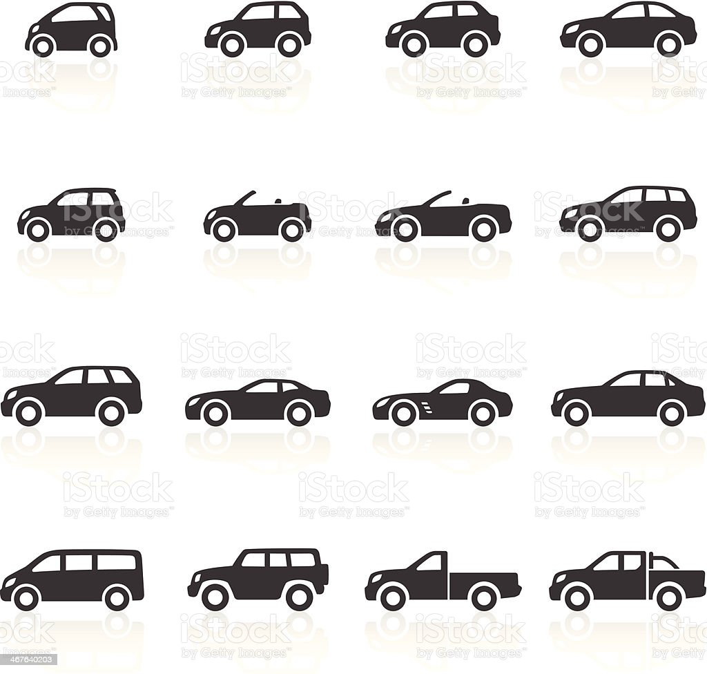 Cars Icons vector art illustration