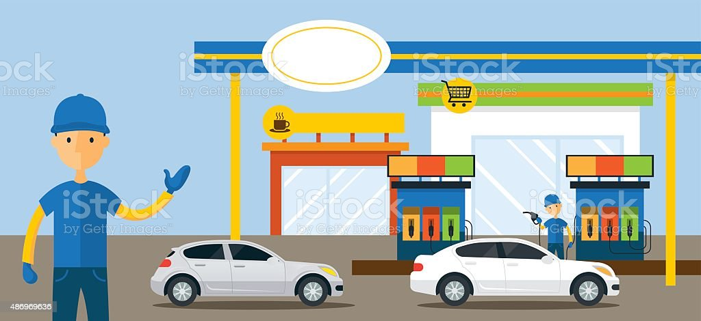 Cars in Gas Station and Service Attendant Illustration vector art illustration