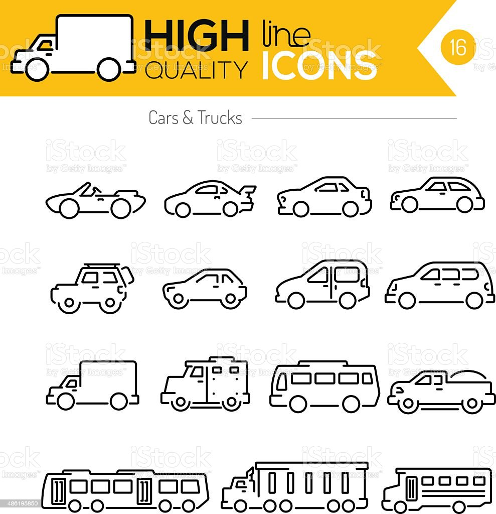 Cars line icons two vector art illustration