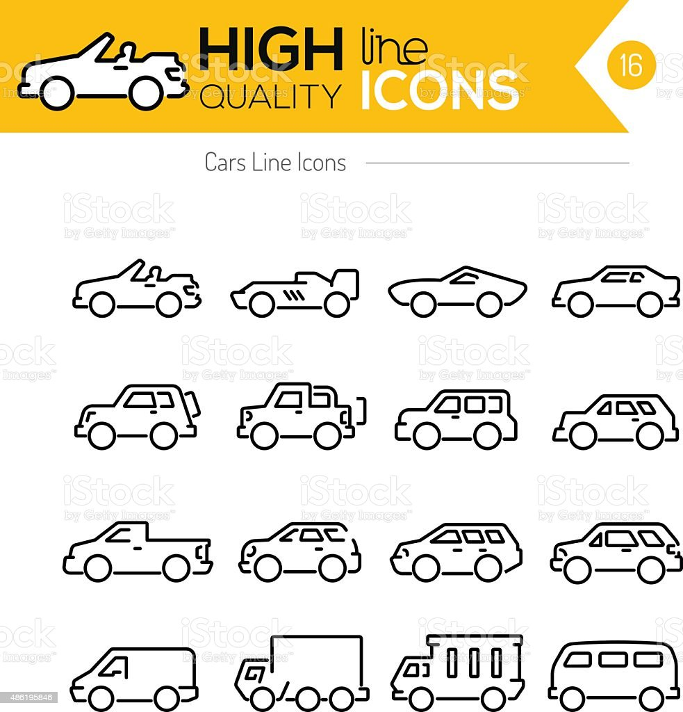 Cars line Icons vector art illustration