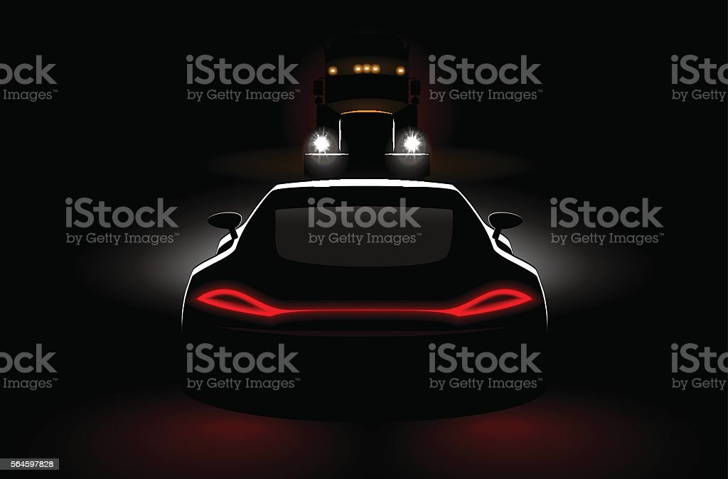 cars meeting truck accident in dark with headlights and taillights vector art illustration