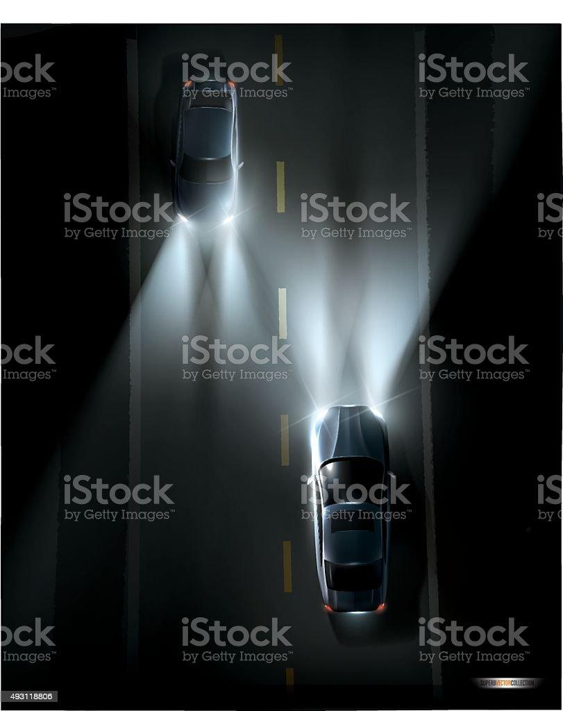 Cars on a night road. vector art illustration