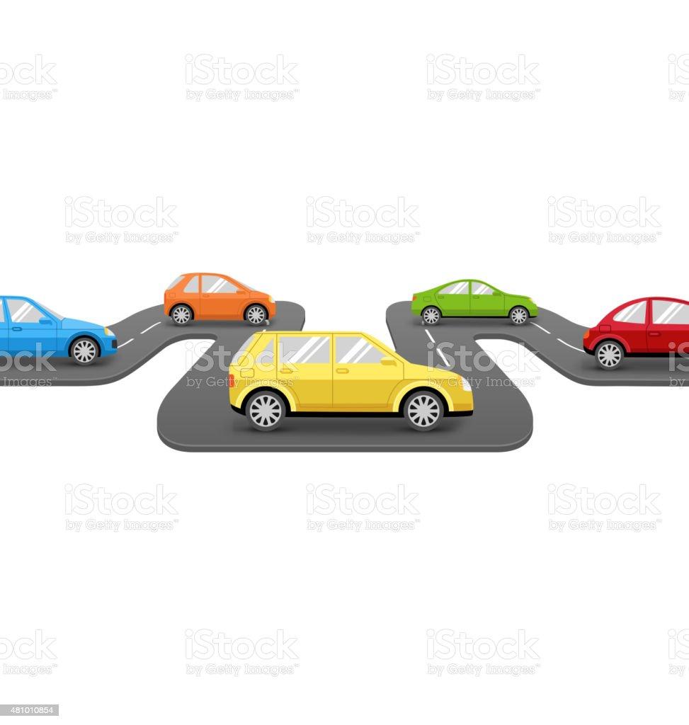 Cars on Road. Perspective Transport Background vector art illustration