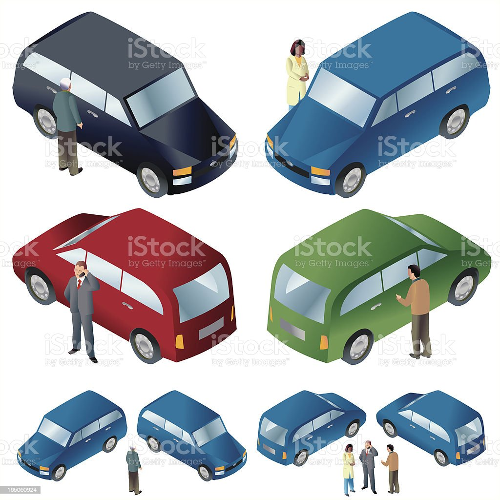 Cars + people ISO royalty-free stock vector art