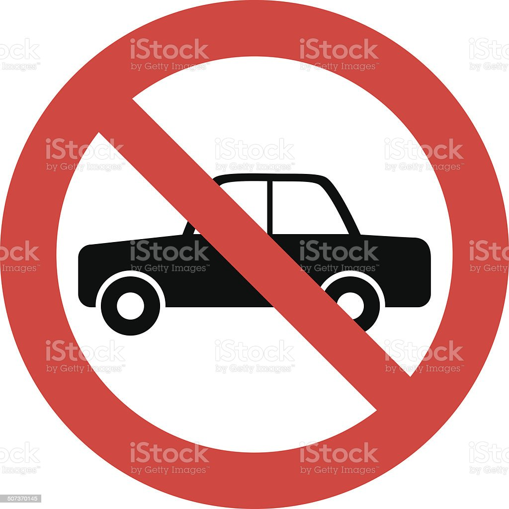 Cars prohibition sign vector art illustration
