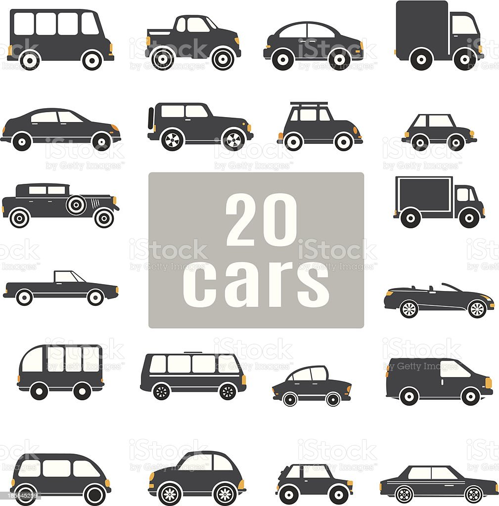 Cars. Set icons vector art illustration