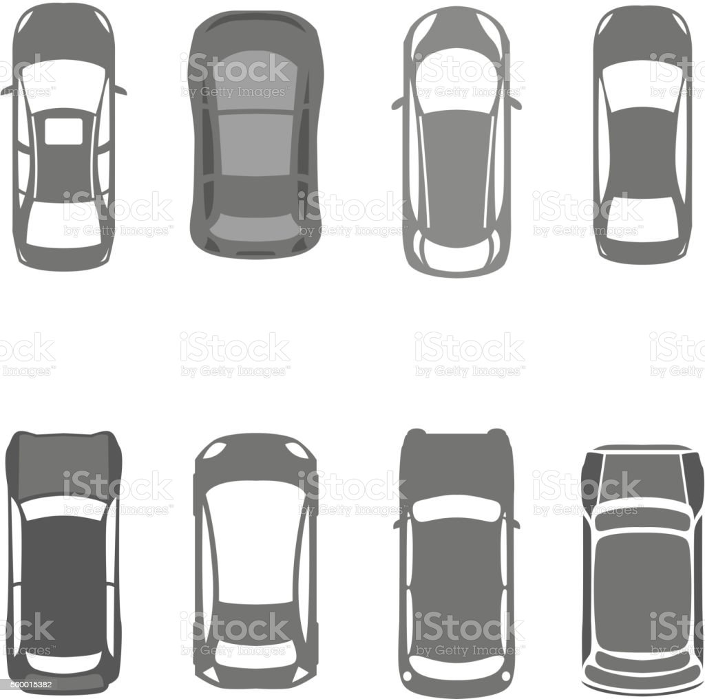 Cars top view 02 A vector art illustration