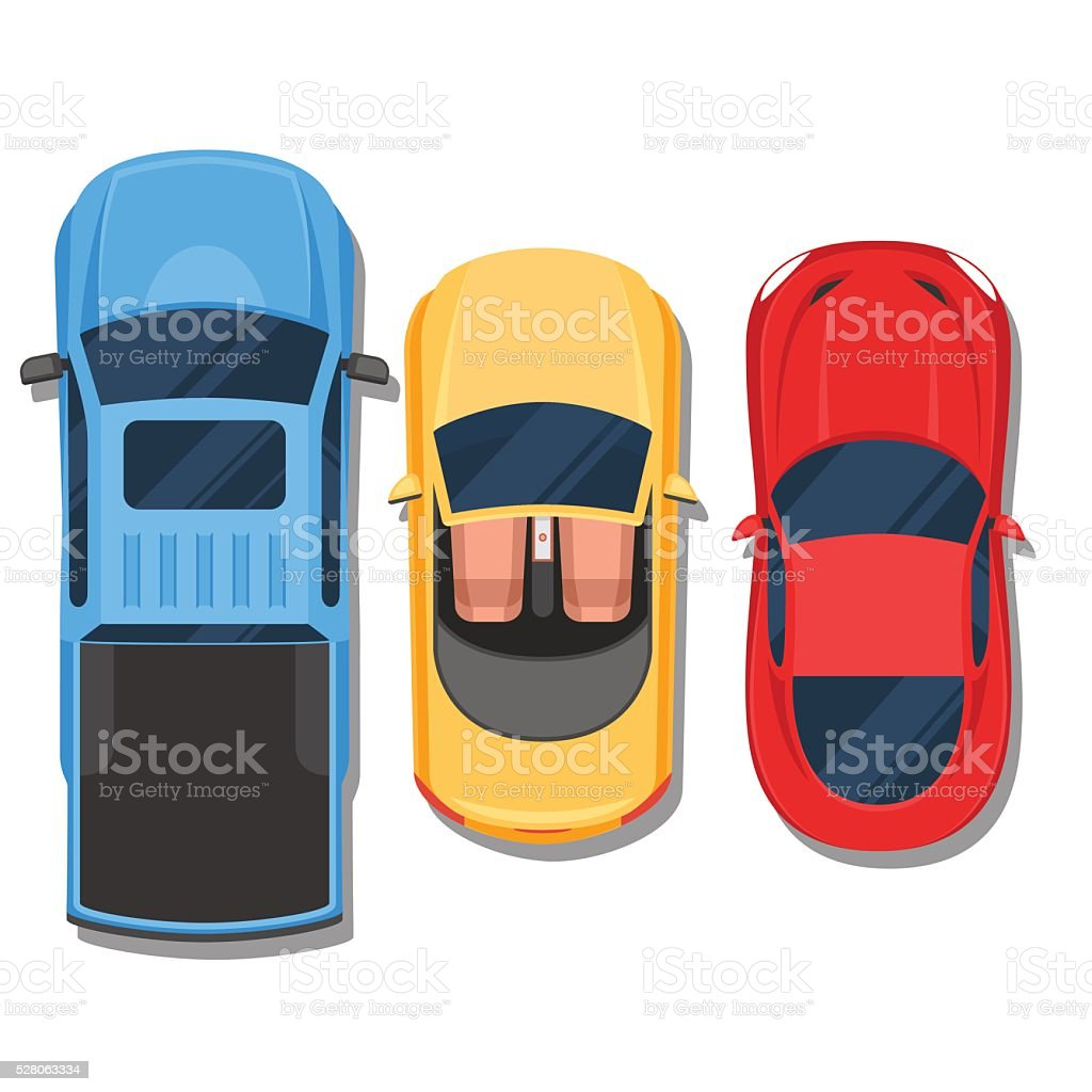 Cars top view. Convertible, sport car and pickup vector art illustration