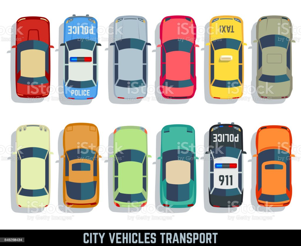 Cars top view vector flat city vehicle transport icons set vector art illustration