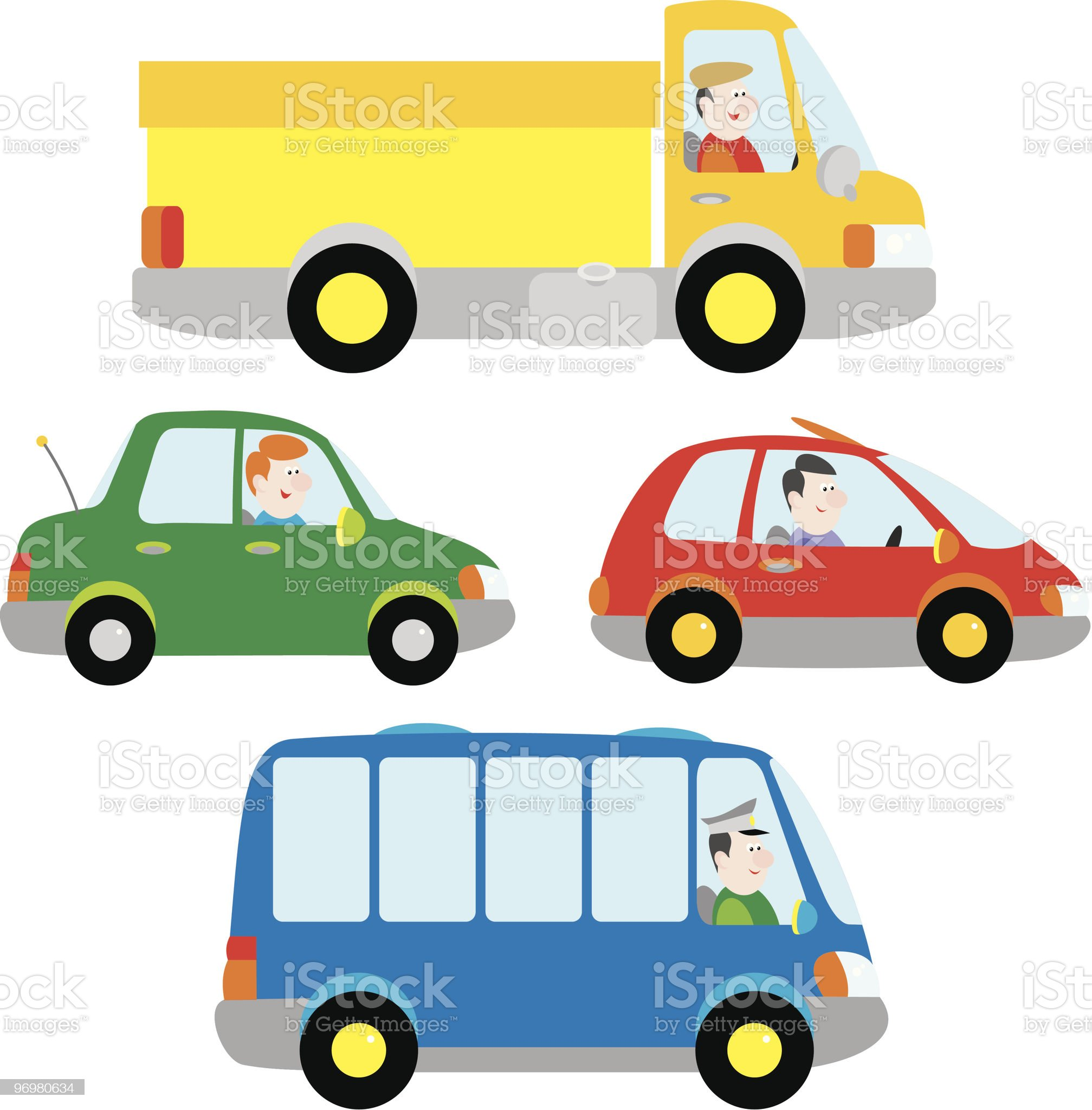 Cars, truck and bus royalty-free stock vector art