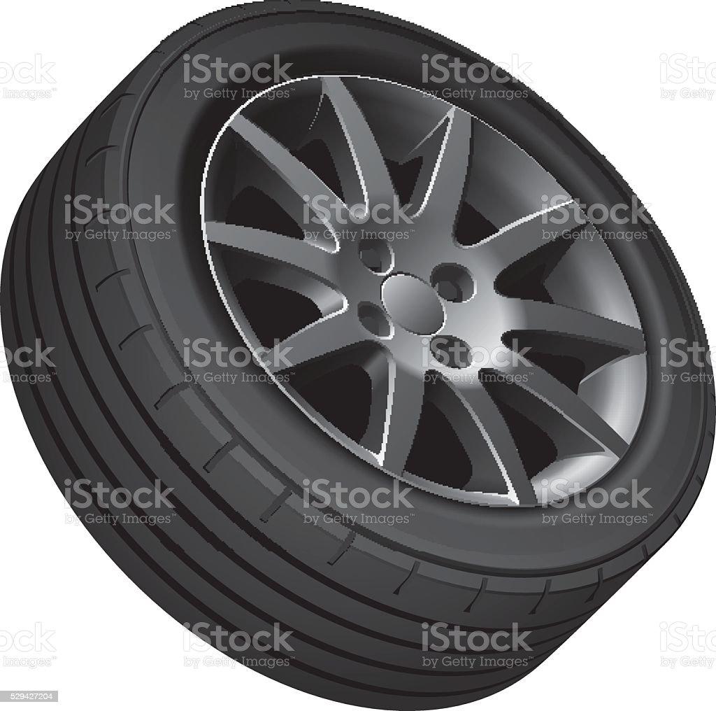 Car's wheel vector art illustration