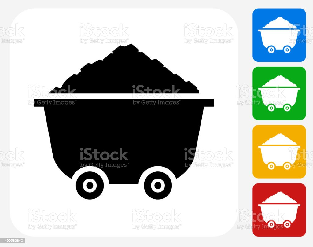 Cart and Sand Pile Icon Flat Graphic Design vector art illustration