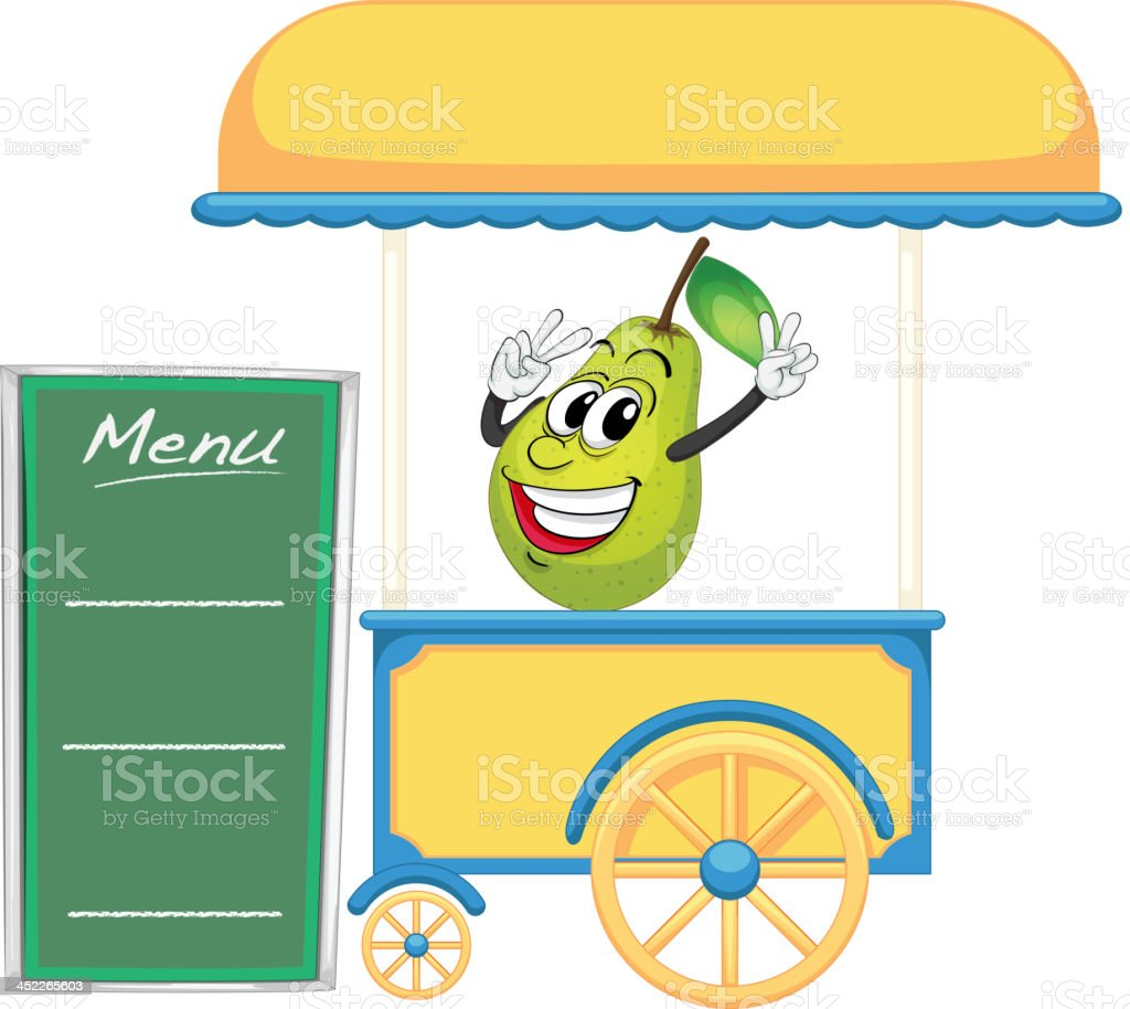 cart stall and a pear royalty-free stock vector art