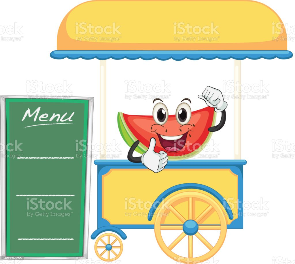 Cart stall and a watermelon royalty-free stock vector art