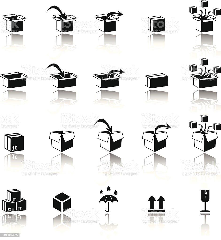 Carton box nad packaging icons vector art illustration