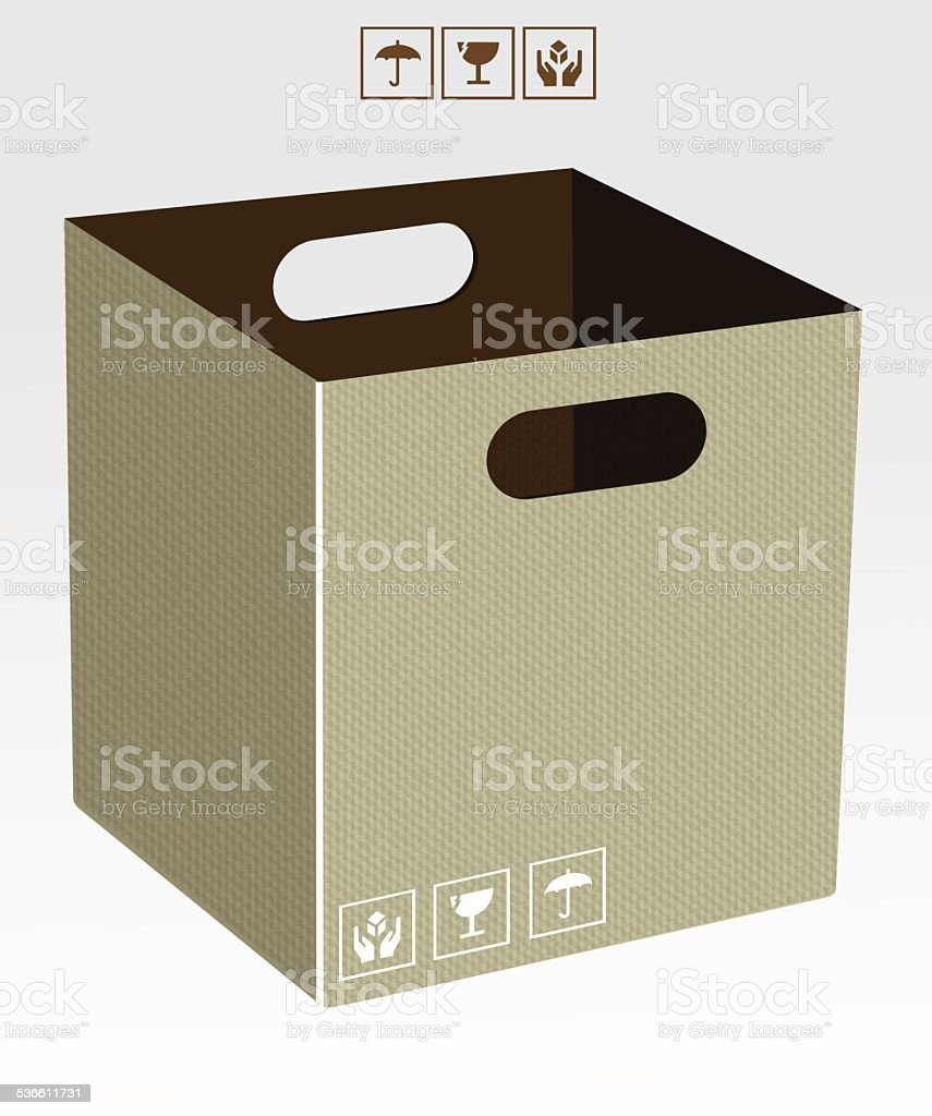 Boîte en Carton stock vecteur libres de droits libre de droits