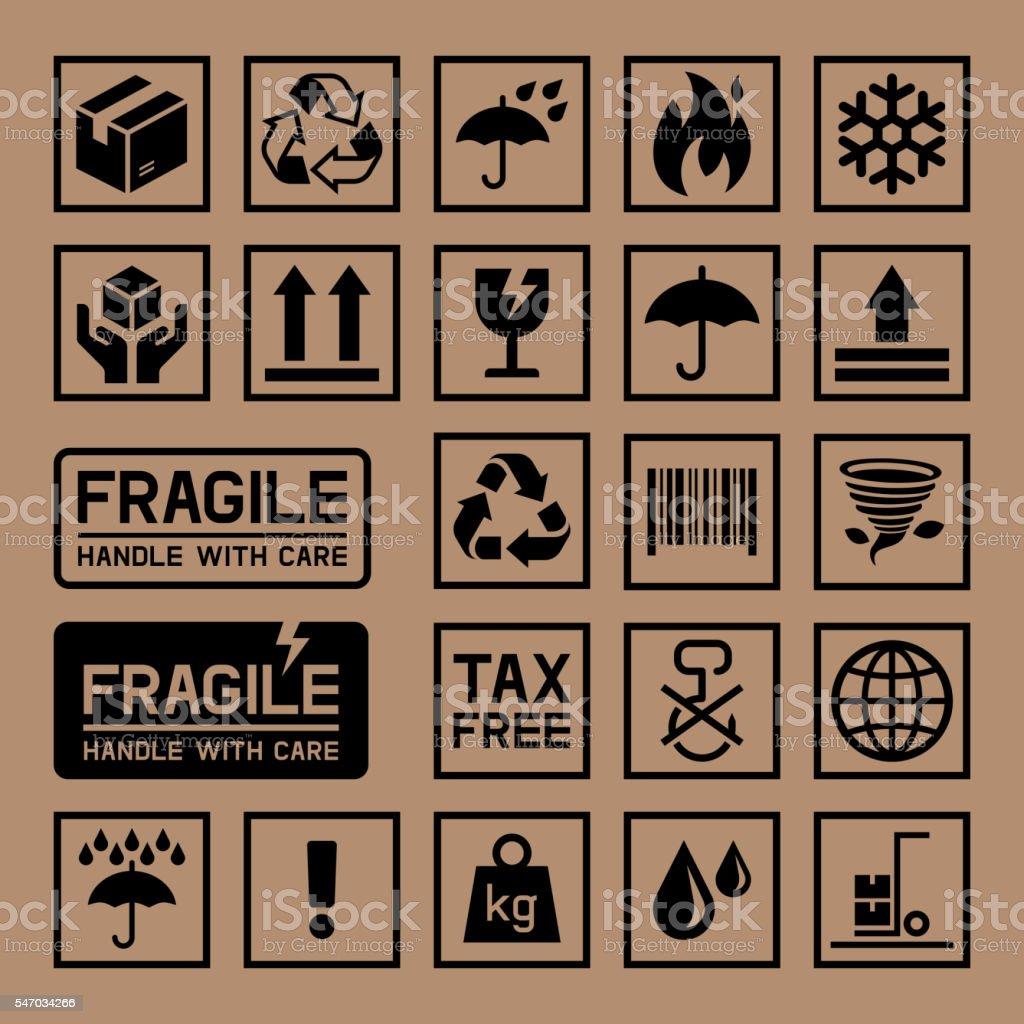 Carton Cardboard Box Icons. vector art illustration