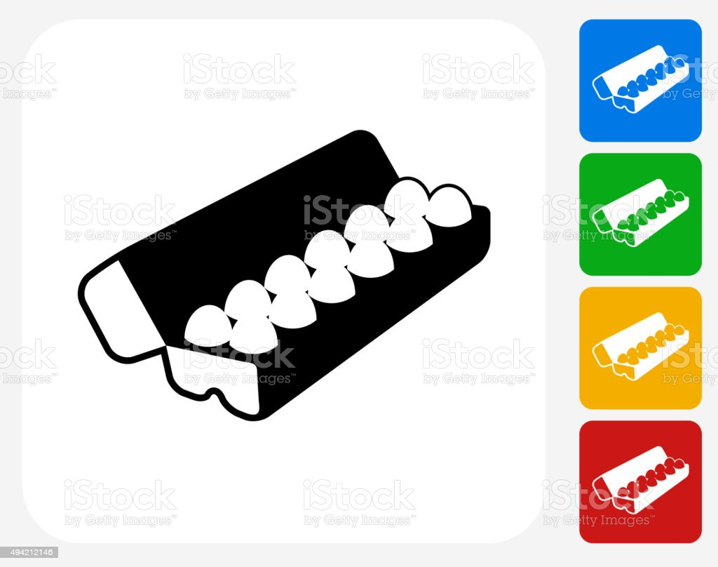 Carton of Eggs Icon Flat Graphic Design vector art illustration
