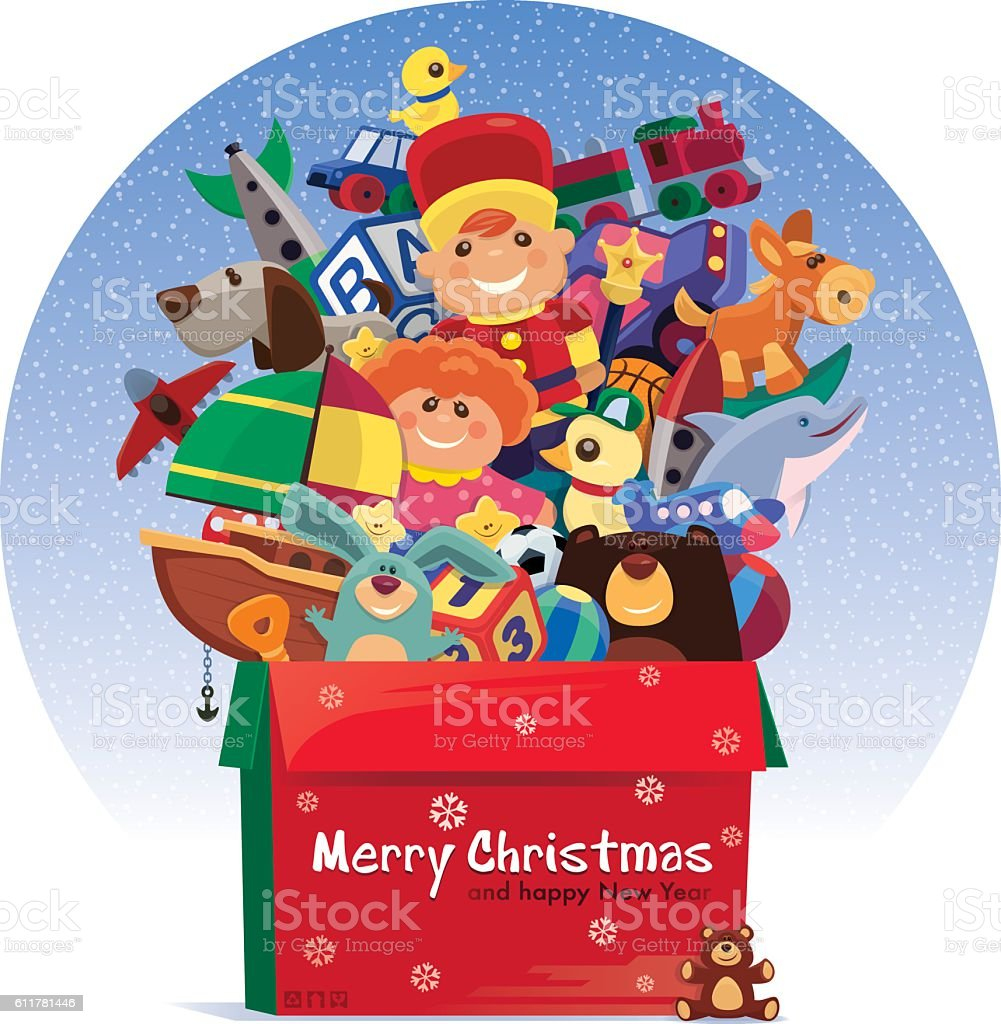 carton of toys for christmas vector art illustration