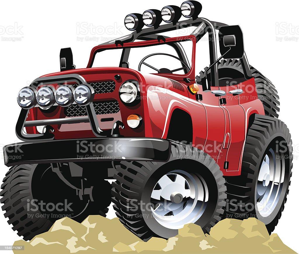 cartoon 4x4 vehicle one click repaint vector art illustration