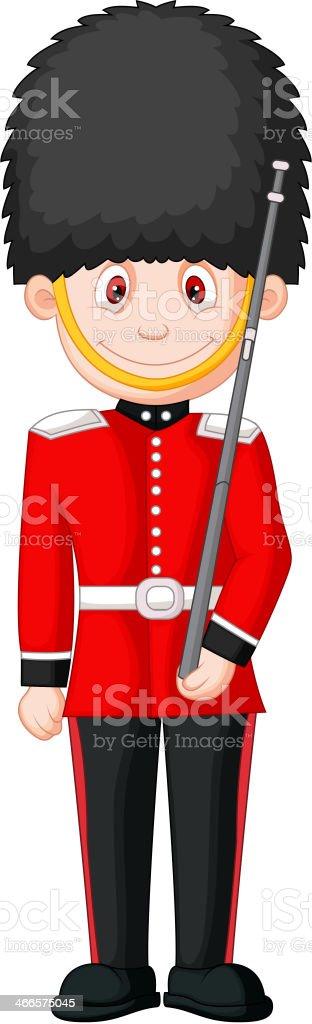 Cartoon a British Royal Guard vector art illustration