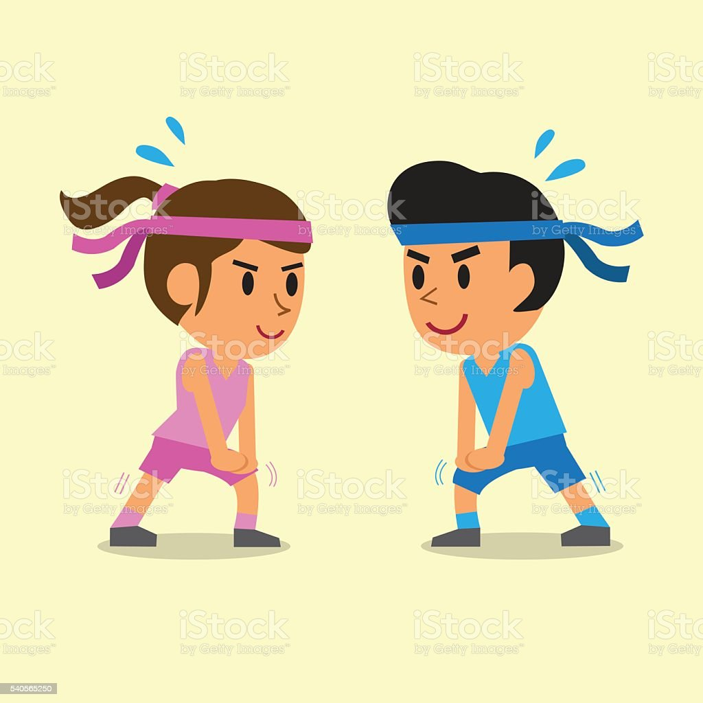 Cartoon a man and a woman doing calf stretch exercise vector art illustration