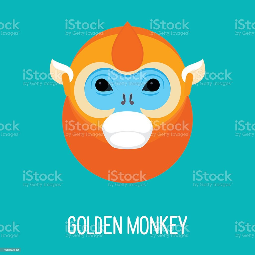 Cartoon abstract bright golden monkey portrait vector art illustration