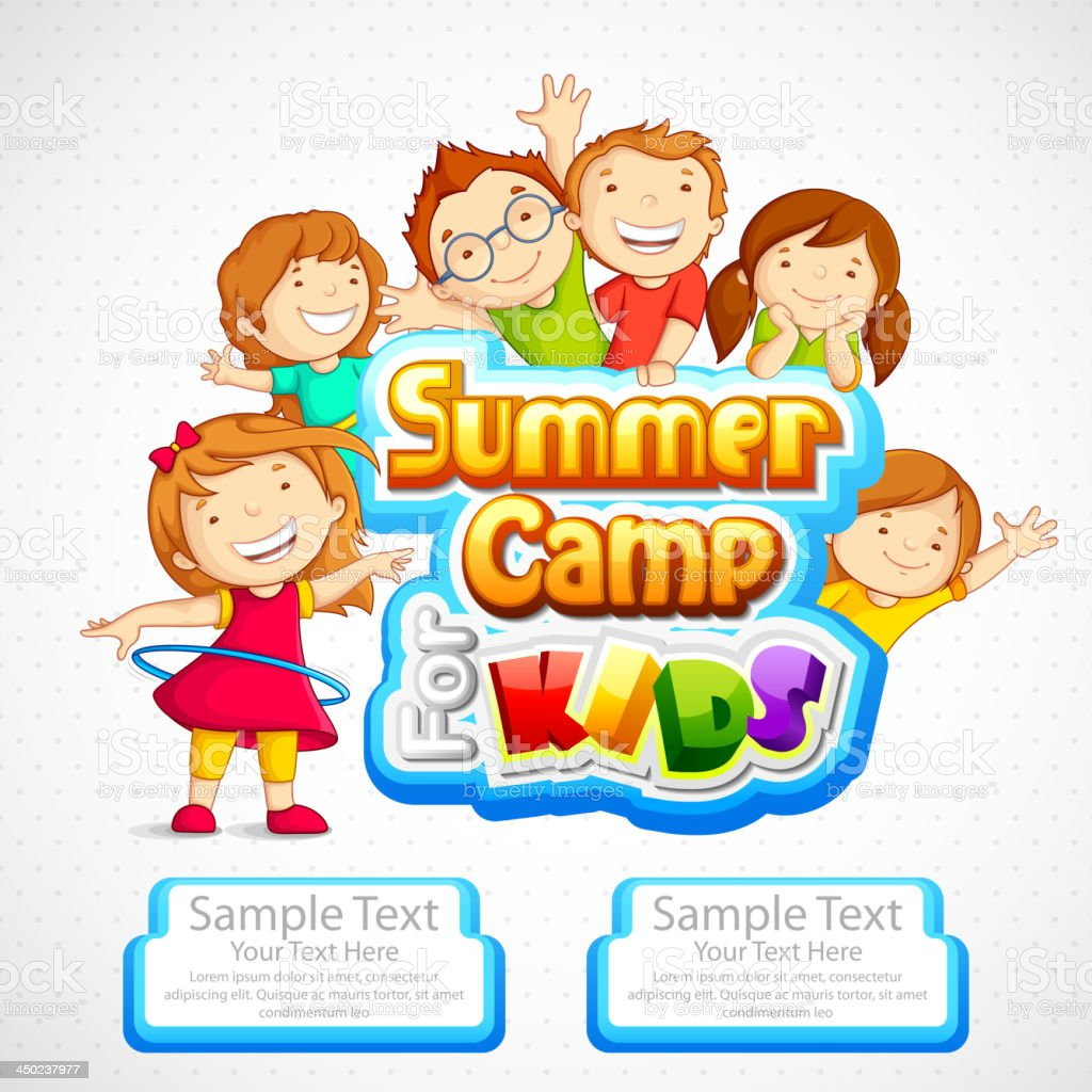 A cartoon ad for a summer camp for kids vector art illustration