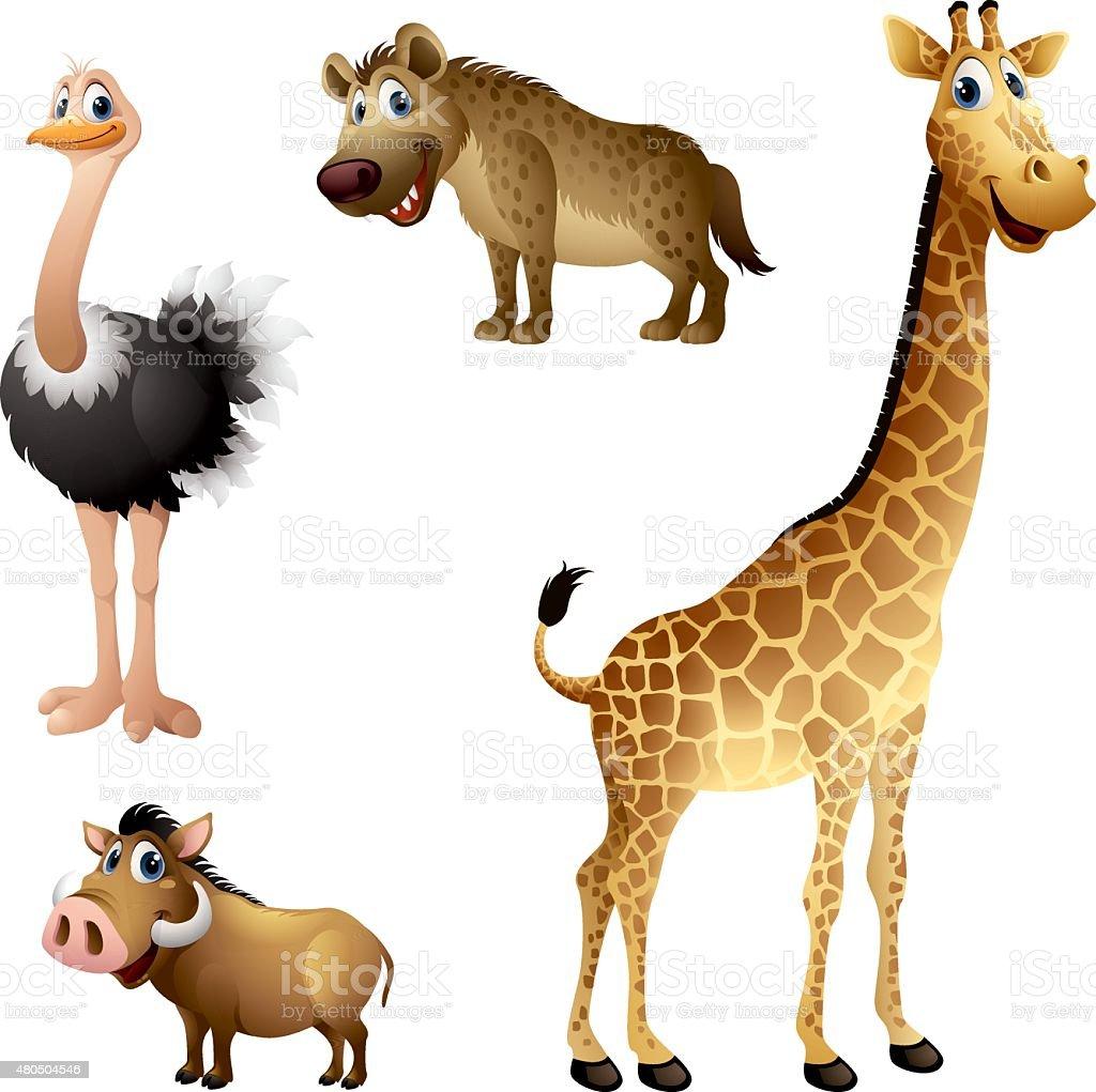 Cartoon africa animal set - ostrich, hyena, warthog, giraffe vector art illustration