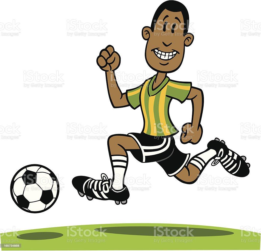 Cartoon African American Playing Soccer vector art illustration