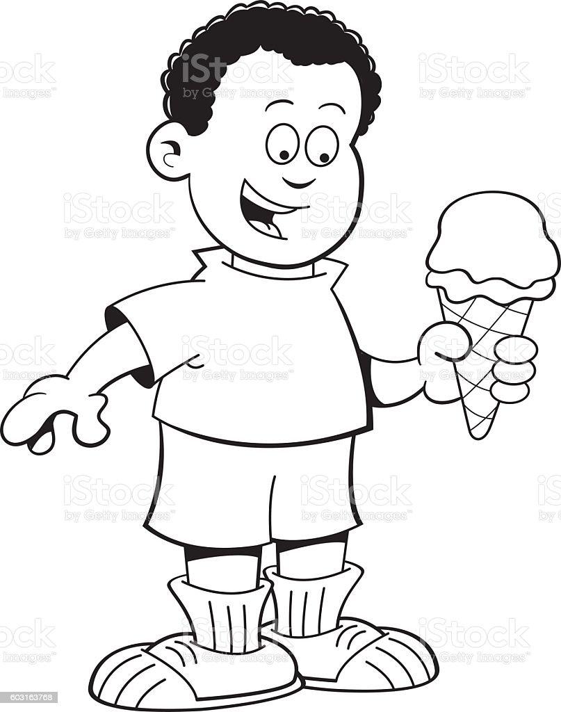 Cartoon African boy eating an ice cone. vector art illustration