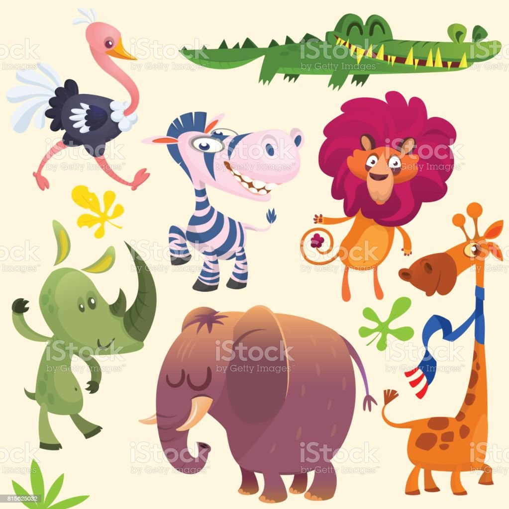 cartoon african savanna animal set wild animals icon collections