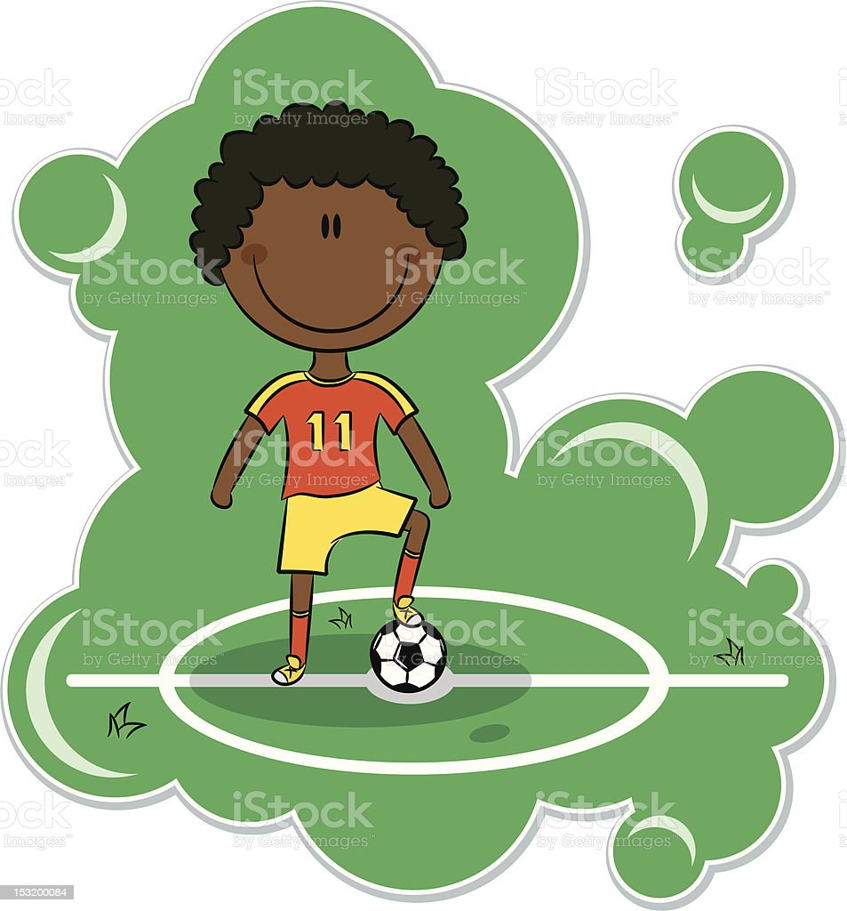 Cartoon African-American Soccer Player royalty-free stock vector art
