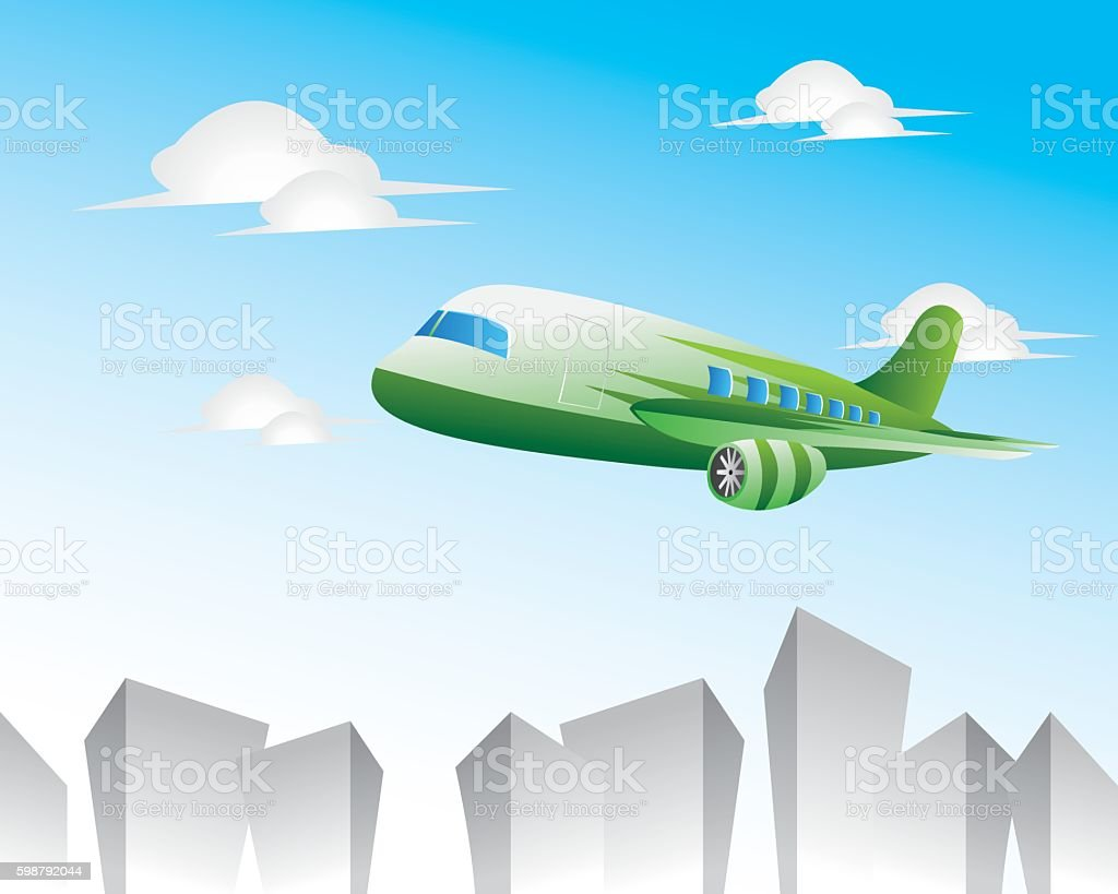 cartoon airplane is flying vector art illustration