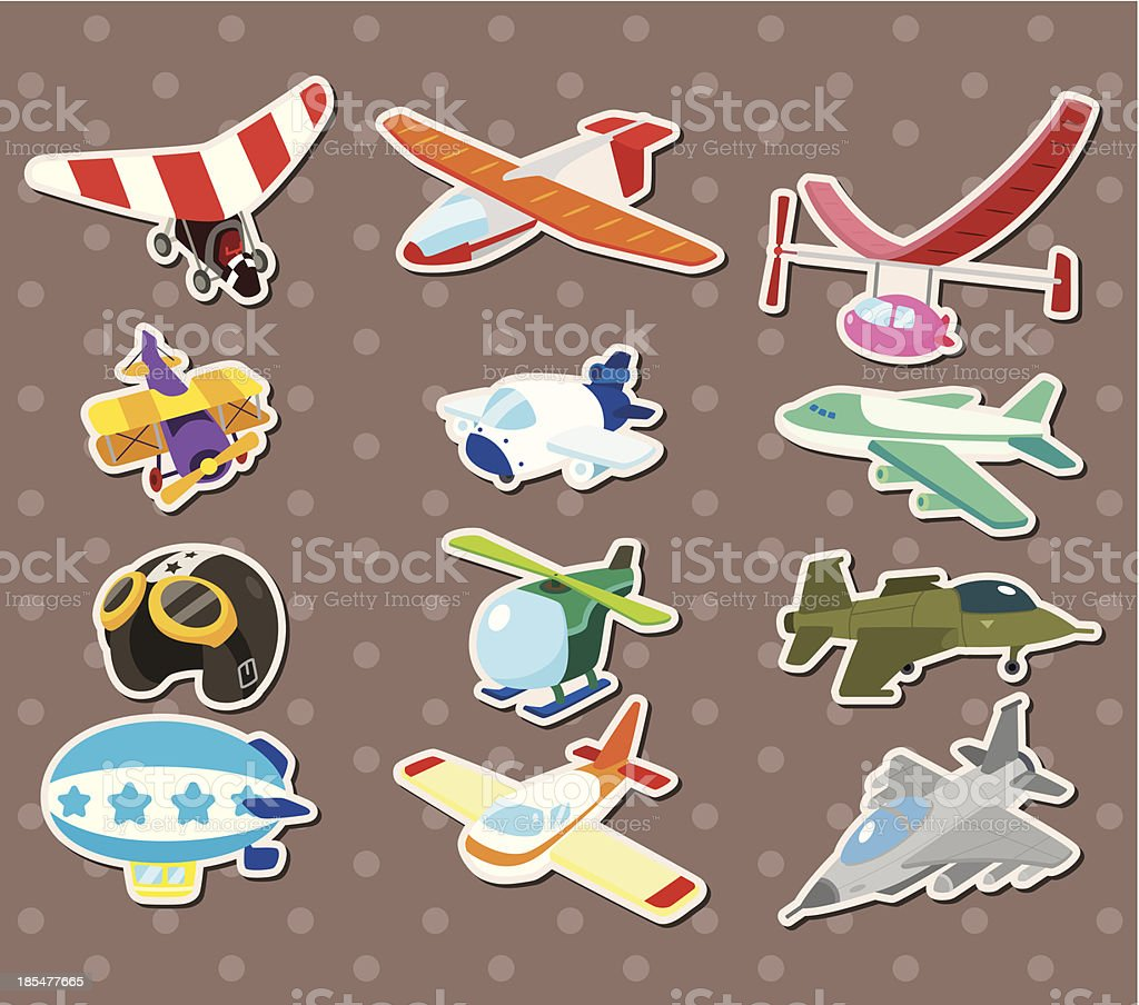cartoon airplane stickers royalty-free stock vector art