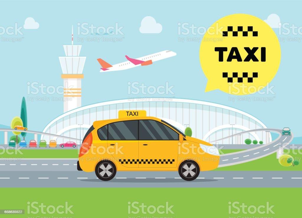 Cartoon Airport Taxi Service Car. Vector vector art illustration