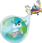 Cartoon alien or ufo spaceship catching earth isolated