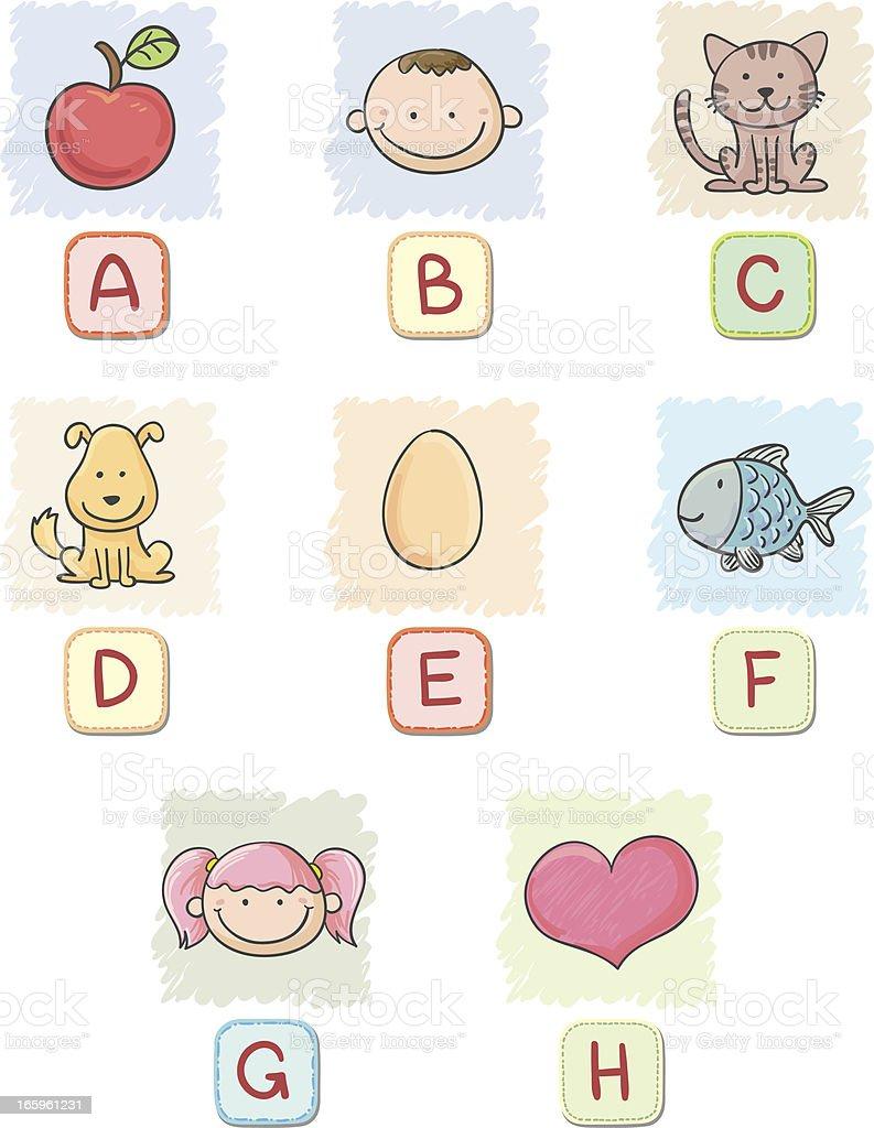 Cartoon alphabet A to H collection royalty-free stock vector art