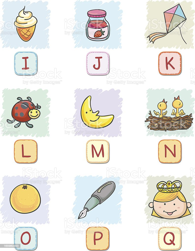 Cartoon alphabet I to Q collection royalty-free stock vector art