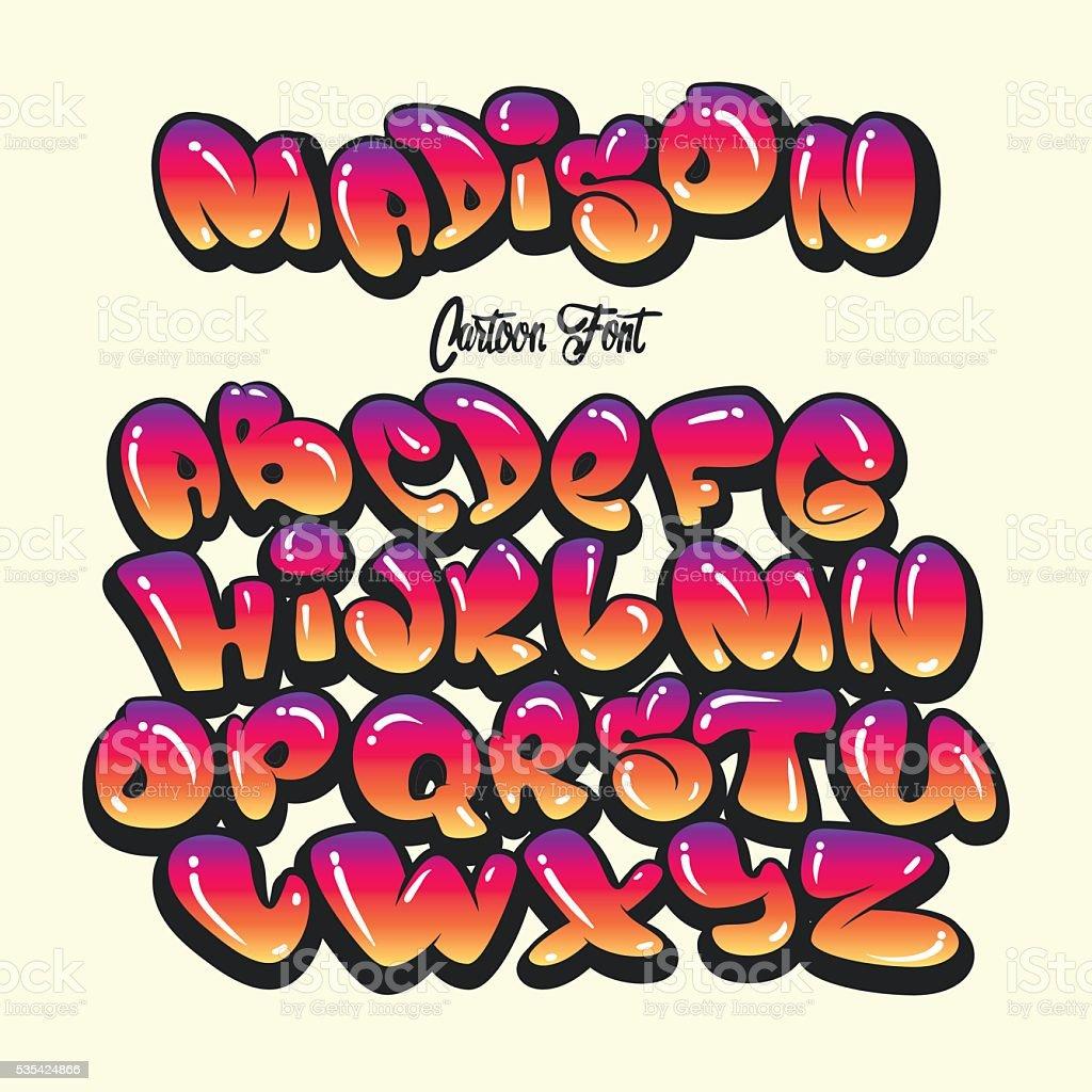Cartoon alphabet in the style of comics. graffiti vector art illustration