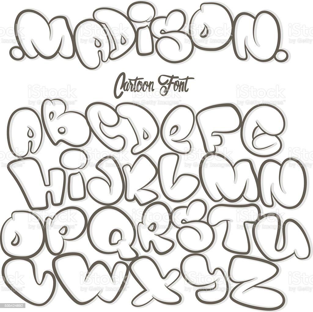 Dessin anim alphabet dans le style de dessin graffiti stock vecteur libres de droits 535424892 - Lettre graffiti alphabet ...