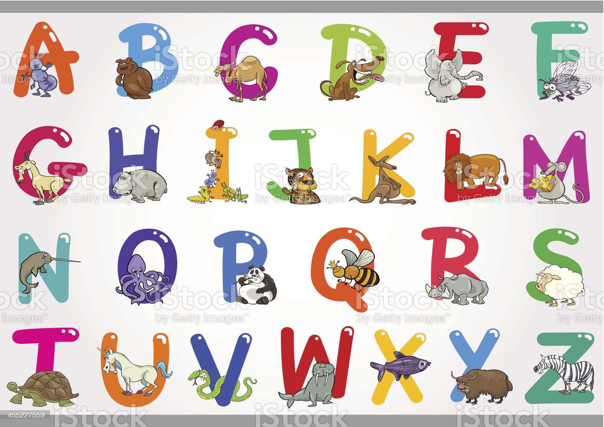 Cartoon Alphabet with Animals Illustrations royalty-free stock vector art