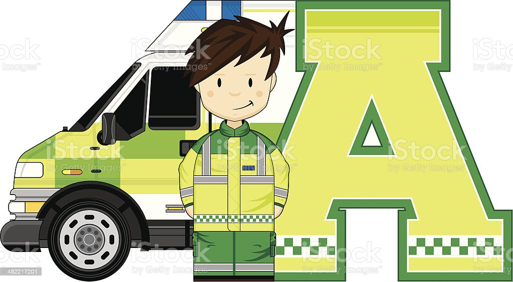 Cartoon Ambulance Man Letter A vector art illustration
