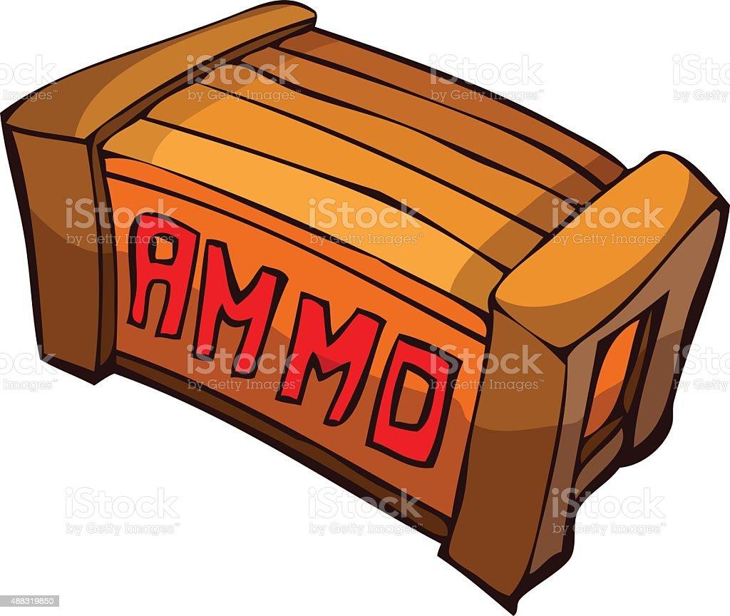 Cartoon Ammunition Crate. vector art illustration