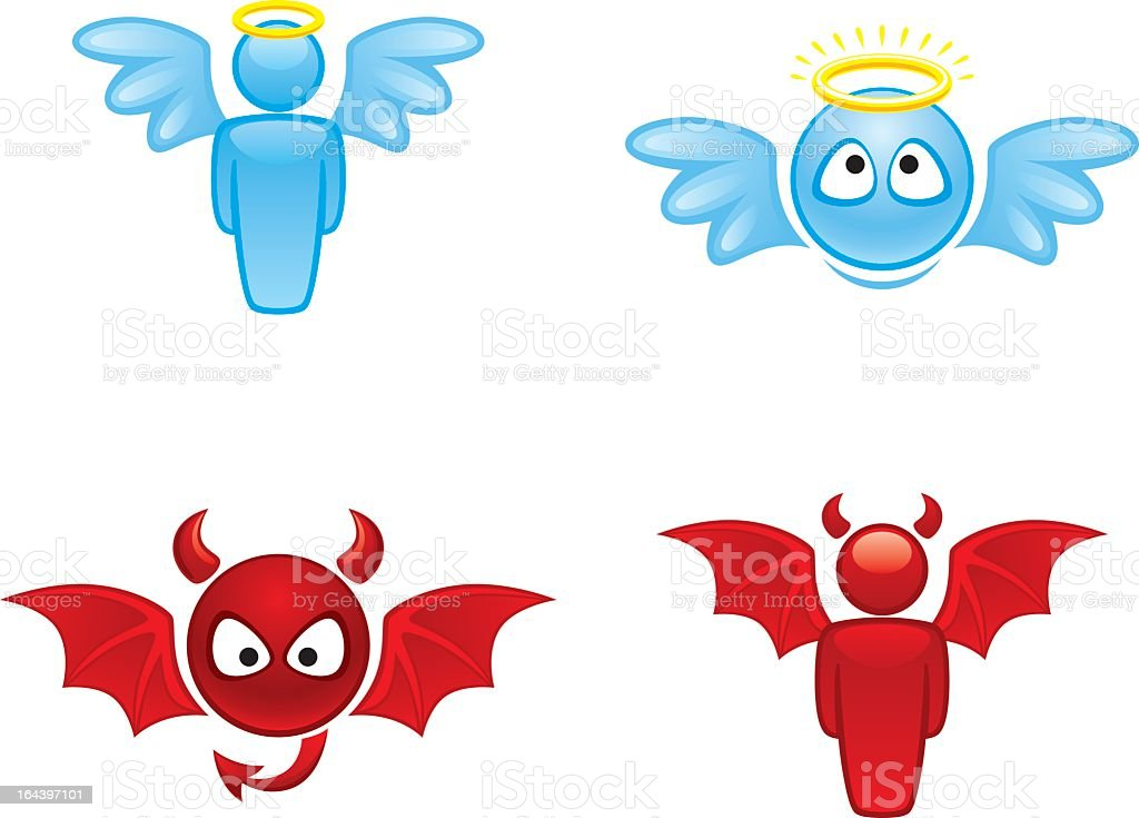 Cartoon angel and devil icons on white background vector art illustration
