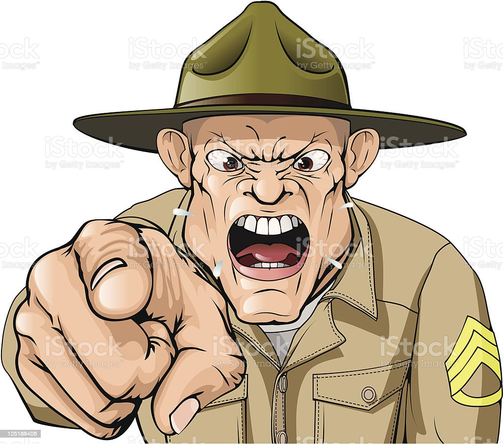 Cartoon angry army drill sergeant shouting royalty-free stock vector art