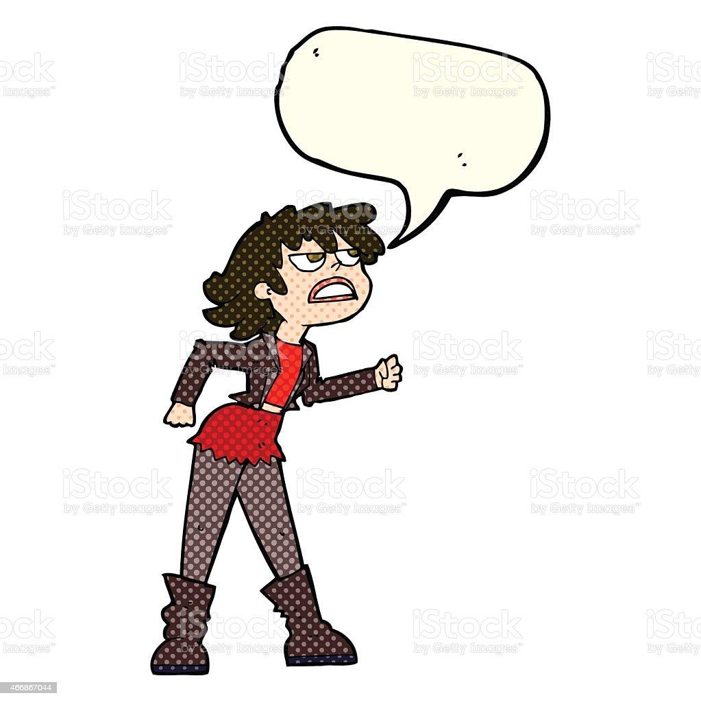 cartoon angry biker girl with speech bubble vector art illustration