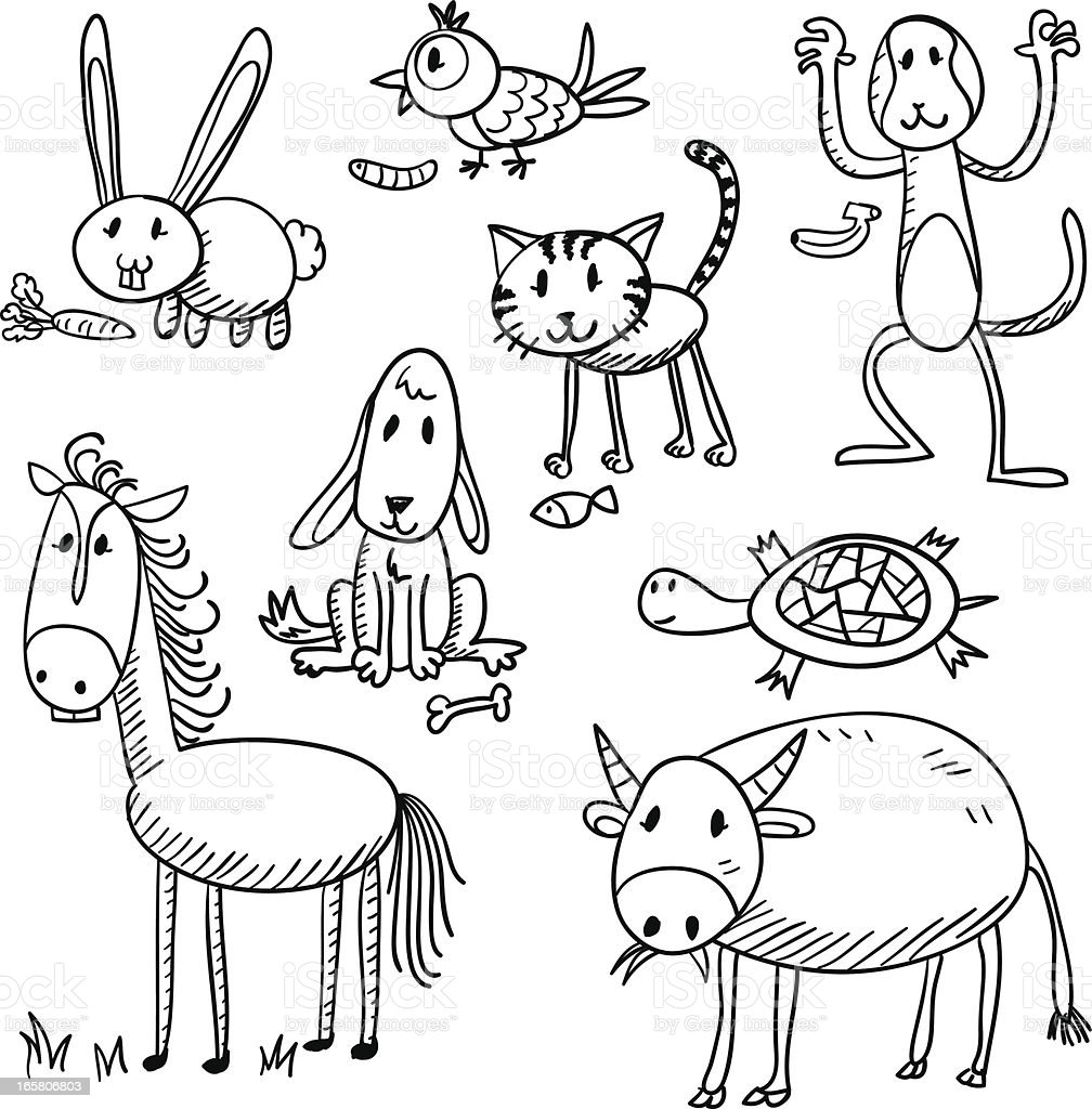 Cartoon animal characters in black and white vector art illustration